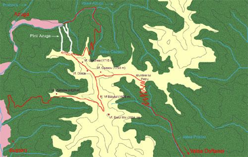 Trans Baiului, sosea in Muntii Baiului, harta si traseu